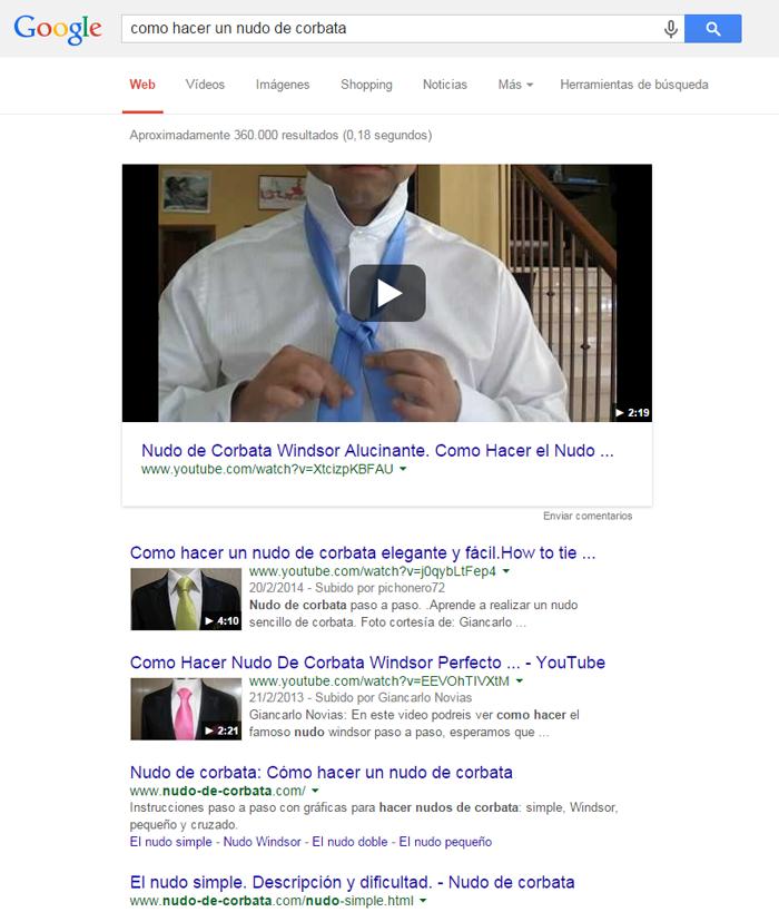 Ejemplo búsqueda de resultado por palabra clave